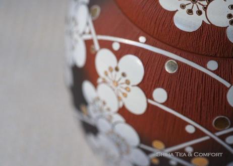 宗則急須 White Plum Ume flolwer, red clay smoked black, full carving Japanese Ceramic Kyusu Teapot