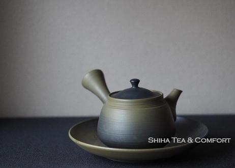 Hakusan 白山急須,  Black smoke on Green clay, Side Handle Japanese Tokoname Ceramic Teapot with Saucer