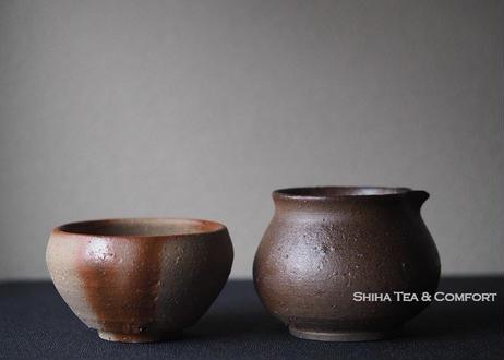 備前安藤騎虎火襷茶杯公道杯套装  KIKO ANDO Bizen Tea ware Set
