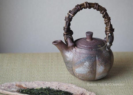Bizen Pumpkin Top Handle Ceramic Kyusu Teapot
