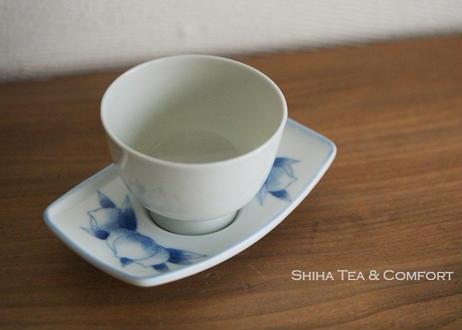 深川製磁青花手絵桃茶托 Fukagawa Porcelain Blue & White  Saucer