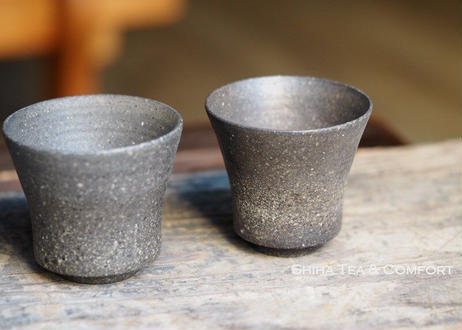 SUZU-YAKI Japanese Black Pottery Pair Cups 珠洲焼