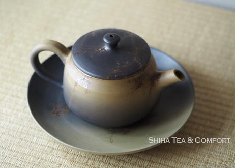 白山藻掛熏黑壺 壺承急須 Hakusan  Seaweed Green /Black Seaweed Teapot Kyusu