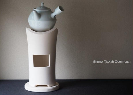 Japanese vintage white clay stove with plate for tea kettle