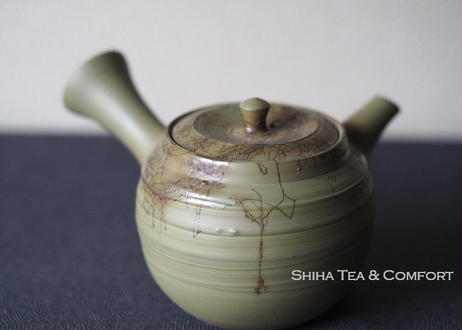 Hakusan 白山急須, Mogake, Green Clay Small size (110ml) Seaweed Japanese Ceramic Kyusu Teapot,