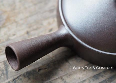 甚秋扁平左手壶急須 JINSHU Gokuhira flat Kyusu balck Teapot