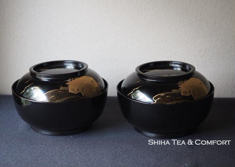 Antique Japanese Lacquer Bowl with Gold Painting  2 pcs