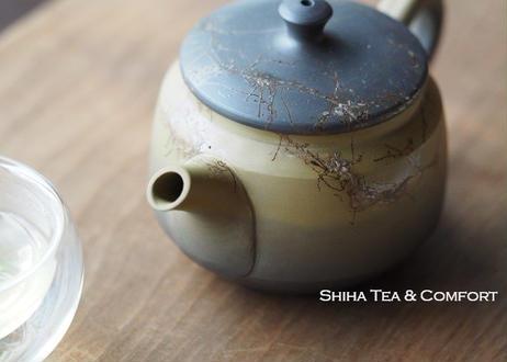 白山藻掛熏黑壺急須 Hakusan Seaweed Green Black Seaweed Teapot Kyusu