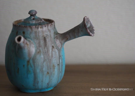 急須Blue wood firing grey ash white clay Japanese Ceramic Kyusu Teapot