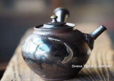 山田想黒釉柴焼壺急須 Yamada Sou  Shell  Black Wood Firing  Teapot Kyusu