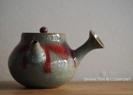 笹岡基三辰砂茶壺急須 Motozo Sasaoka Shinsha Glazing Teapot Kyusu