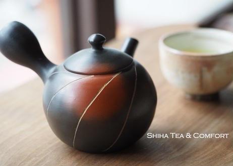 常滑烧素三朱泥熏黑壶急須 Motozo Red Clay Smoke Black Teapot Kyusu