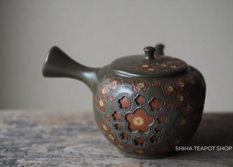 SHUNEN Double Wall Green Clay Red Plum Flower Teapot SH66 舜園梅花