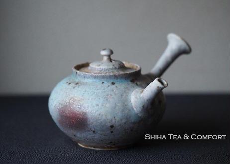 Yamada Sou 山田想急須 Blue Grey Ash Wood Firing White Clay Japanese Ceramic Kyusu Teapot, Tokoname