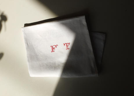 "French linen cloth ( Monogram""FT"")"