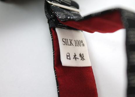 蝶ネクタイ KIMONO fabric 黒地 市松文様 上京蝶帯 #625