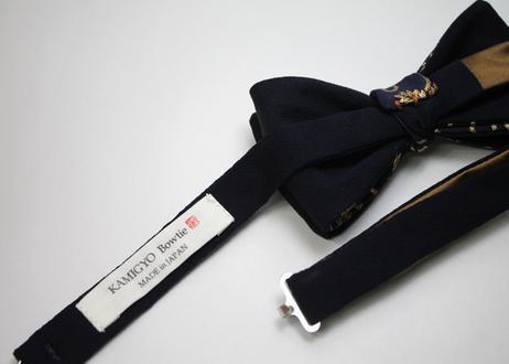 蝶ネクタイ Noh fabric 金襴 紺地唐草文様 上京蝶帯 #570
