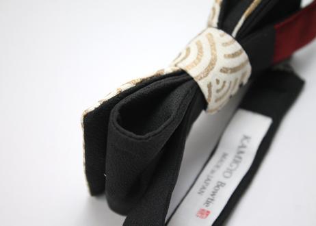 蝶ネクタイ KIMONO fabric 金彩 青海波文様 上京蝶帯 #589