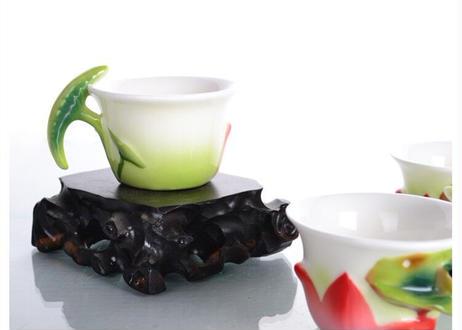 蓮池ホームダイニング箸置き茶セットカラー磁器 8 個セット