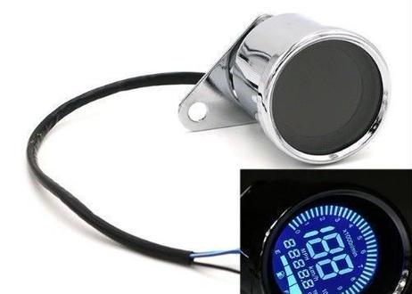 汎用 社外品 デジタル12ボルト メッキ ユニバーサルデジタル オートバイ スピードメーター 走行距離 タコメーター