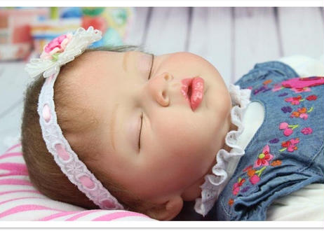 高級 リボーンドール 赤ちゃん人形 ベビー人形 ベビードール 植毛 シリコンビニール リアル ハンドメイド 添い寝 抱っこ 女の子