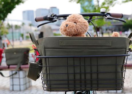 ワイドバッグ ( カーキ) + 底メッシュパイプワイヤーバスケット