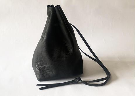 一粒舎 巾着(鹿革 / ブラック)