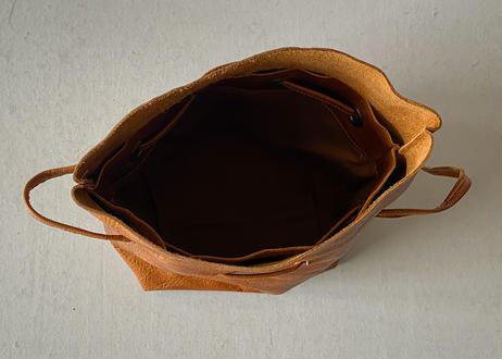 一粒舎 巾着バッグ(鹿革 / ブラウン+ワックス)①