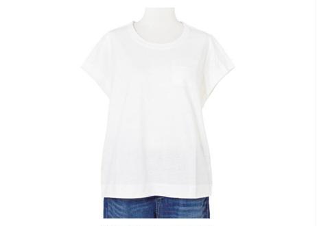 ニット使いフレンチスリーブTシャツ