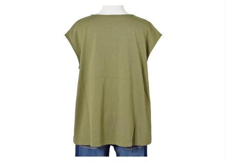 カットソー×布帛ヘンリーネックTシャツ