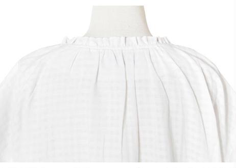 シアーチェックフリル衿ワンピース
