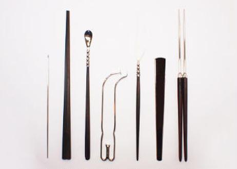 火道具 御家流用 七点揃 真鍮クローム鍍金/黒檀