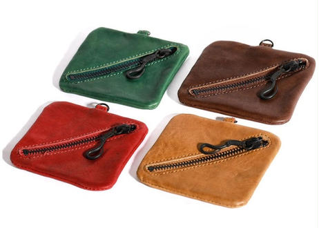 Square Leather Coin Pouch 茶