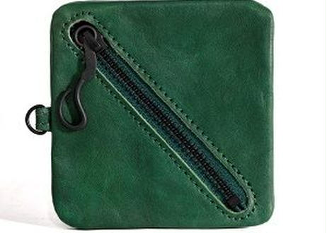 Square Leather Coin Pouch グリーン