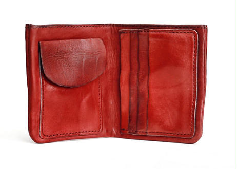 Leather Card Wallet 赤