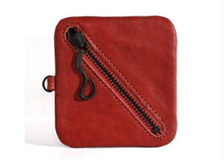 Square Leather Coin Pouch  赤