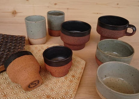 麻模様の陶板 S  Henp patterm ceramics (Black / White)