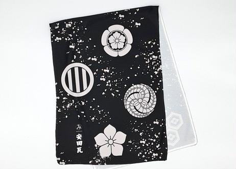 瓦屋さんの冷感タオル 家紋柄 白黒