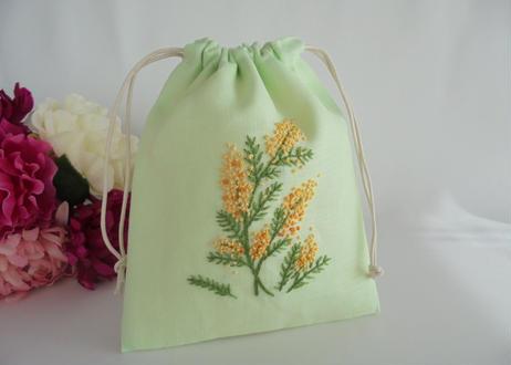 手刺繍巾着 ミモザの庭 イングリッシュガーデン【1点限り】