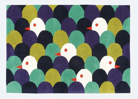 ラグマット mori tori (ブルー/140×200cm)