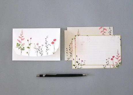ピンクの花たちのレターセット
