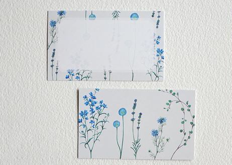 ブルーの花たちのメッセージカード