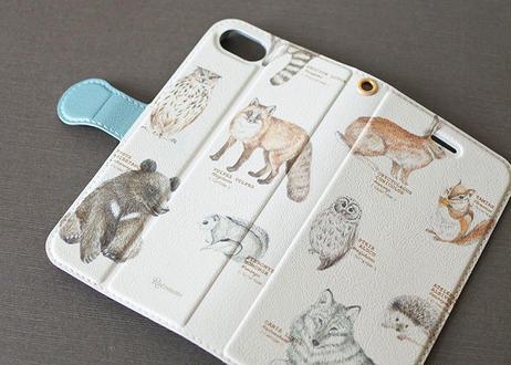 森の動物の手帳型スマホケース*カスタマイズ可 〔大型モデル専用〕
