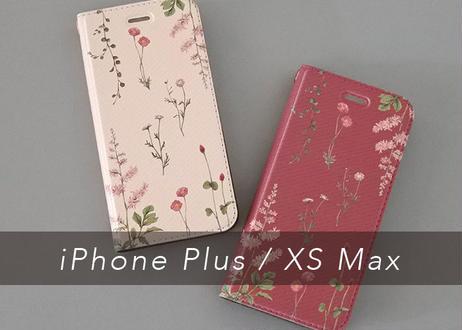 ピンクの花たちの手帳型iPhoneケース〔大型モデル専用〕