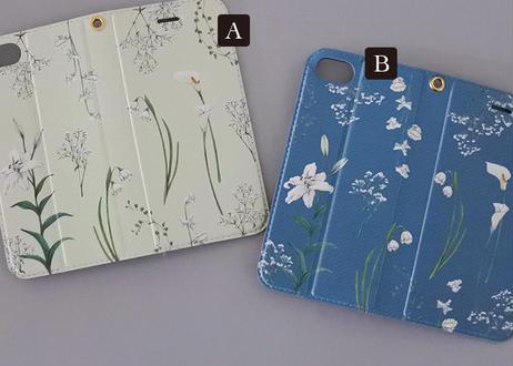 白い花たちの手帳型iPhoneケース〔大型モデル専用〕