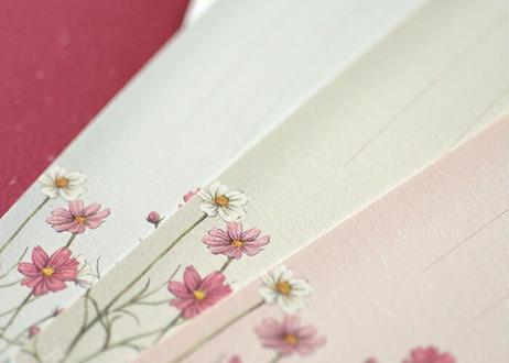 期間限定*秋桜の一筆箋カードセット