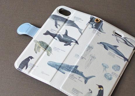 海の生き物の手帳型スマホケース*カスタマイズ可 〔大型モデル専用〕