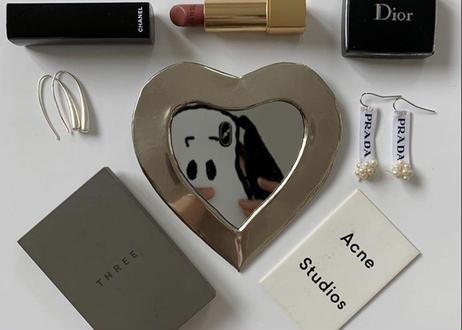 I love meHeart mirror  いちばん小さめxs【※silver】