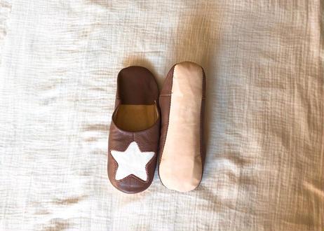 Womanお星様のバブーシュ Brown × White star
