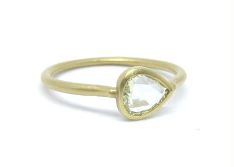 Rosecut Diamond Pear-Shaped Ring